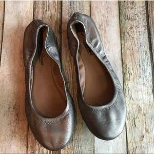 """Lucky Brand """"Emmie"""" Leather Ballet Flats In Pewter"""